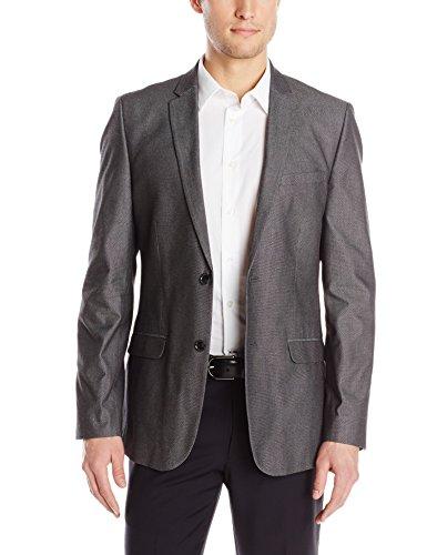 Calvin Klein Men's Unstructured Textured Sport Coat, Black, Large
