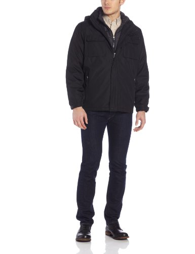 Calvin Klein Men's Three-In-One Convertible Systems Coat, Black, XX-Large