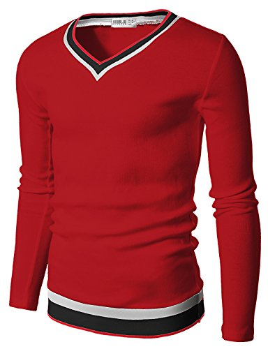 Doublju Mens V-Neck Sweater Pull-over with Tipping