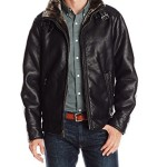 Calvin Klein Men's Pebble Leather Moto Jacket with Shearling, Black, X-Large