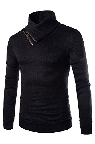 ASVOGUE Men's Solid Turtle Neck Long Sleeves Knitted Thermal Sweater