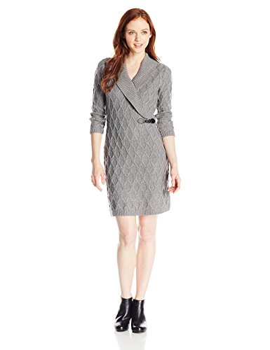 Calvin Klein Women's Petite Three-Quarter-Sleeve V-Neck Sweater Dress