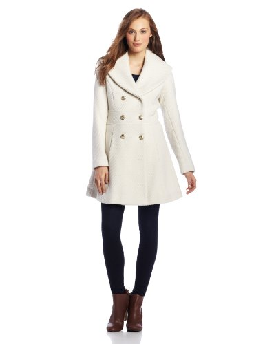 Jessica Simpson Women's Basketweave Double Breasted Wool Coat