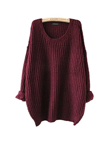 ARJOSA® women's fashion oversized knitted crewneck casual pullovers sweater