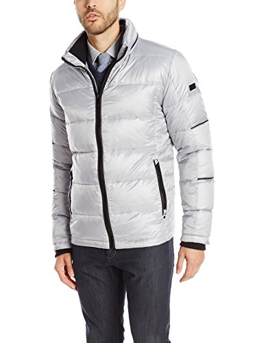 Calvin Klein Men's Four Layered Down, Silver, Large