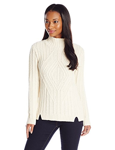Parkhurst Women's Ashley Textured Cable Mock Neck Sweater