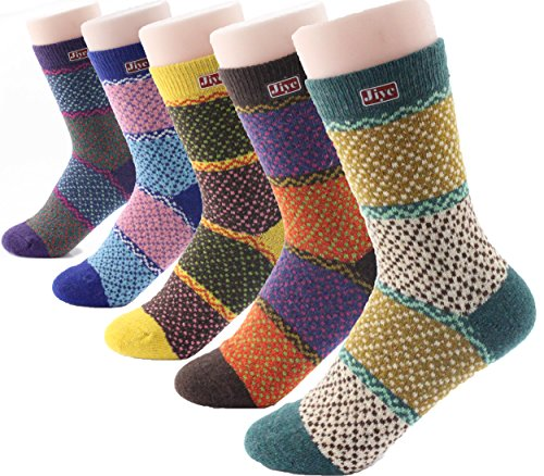 Jiye Women's Multi Color Wool Winter Socks (6 M~12 M, M(Pack of 5))