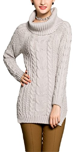 V28® Women's Cowl Neck Cable Knit Long Sleeve Knitwear Pullover Sweater