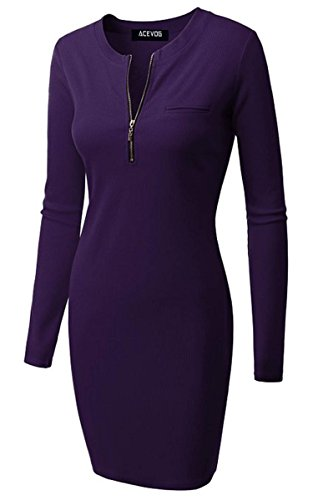 ACEVOG Women Long Sleeve Casual Rib Cotton Knit Zip-Up Front Sweater Dress