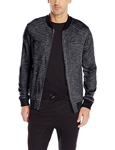 Calvin Klein Jeans Men's French Terrry Bomber Jacket, Black, Large
