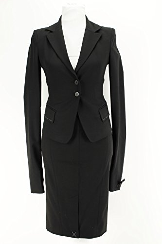 Patrizia Pepe Black Virgin Wool Blend Women's Skirt Suit Size 42 Regular
