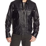 Calvin Klein Men's Faux Lamb Leather Moto Jacket with Hoodie, Black, Large