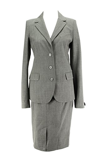 Patrizia Pepe Grey Virgin Wool Blend Women's Skirt Suit Size 46 Regular