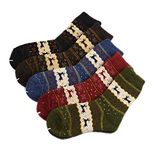 SDBING 5 Pair Women Warm Cashmere Hair Socks in Winter Thickened Wool Sock