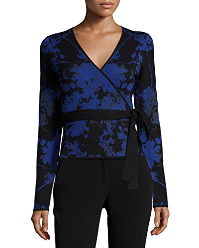 Diane von Furstenberg KYLA Wool Wrap Sweater in Floral Daze Blue
