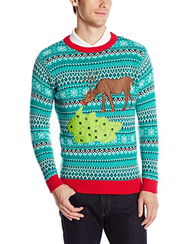 Blizzard Bay Men's Too Much Candy Reindeer Ugly Christmas Sweater