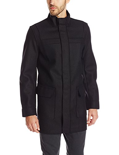 Calvin Klein Men's Wool Laser Cut Solid Coat with Mesh Interior, Black, Large