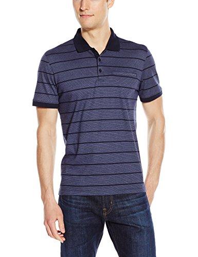 Calvin Klein Men's Short Sleeve Auto Stripe Polo, Navy Blazer, Large