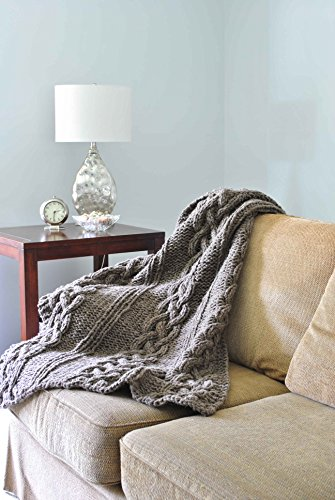 Chunky Cabled Throw Blanket Natural Gray Wool – READY TO SHIP