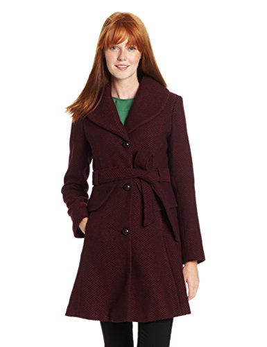 Jessica Simpson Women's Long Basketweave Wool Coat with Belt with Belt, Burgundy, Large