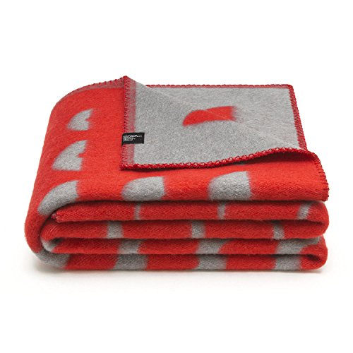 Merino Wool Blanket 100. Throw blanket for home and camping. Plaid nice for babies children. Twin size 140×200 warm and washable wool blanket. Full size bed sofa. Woolkrafts (red, grey)