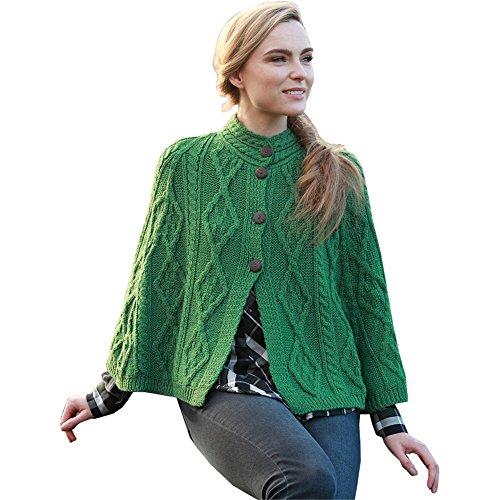 Ladies Irish Wool Cape, 100% Irish Wool, One Size Fits All, Green.