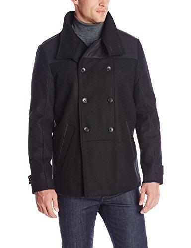 Calvin Klein Men's Short Wool Pea Coat, Black, Large