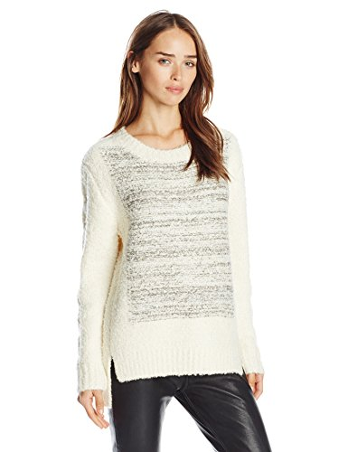 JOA Women's Boucle Sweater with Contrast Color