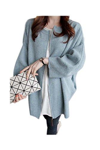 ARJOSA® Women's Batwing Sleeve Oversized Zip up Open Front Cardigan Sweater Top