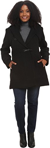 Jessica Simpson Women's Plus-Size Braided Wool Toggle Coat, Black, 3X