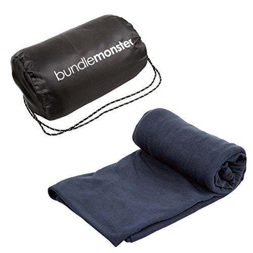Bundle Monster Warm Cozy Microfiber Fleece Adult Sleeping Bag Liner – Dark Navy