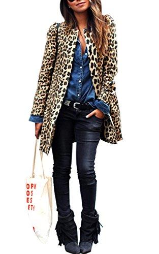 eshion Women's Winter Maxi Plush Gown Long Leopard Overcoat Coat