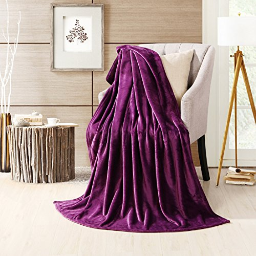 uxcell® Super Soft Warm Rug Luxury plush Fleece Throw Blanket, Suitable for Chair or Bed, Machine Washable,Dark Purple, 150 x 200 cm (59″ x 78″)