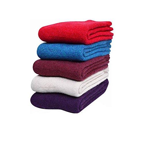 Women's 5-Pack Solid Color Wool Blend Crew Socks
