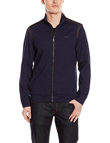 Calvin Klein Men's Long Sleeve Full Zip Jacket with Mock Collar, Navy Blazer, Medium