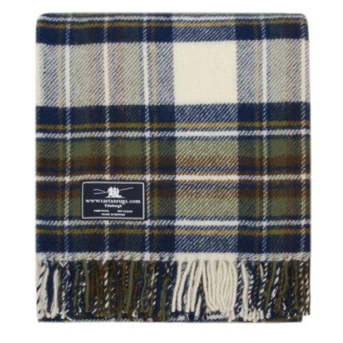 Muted Blue Stewart Tartan Premium Wool Throw