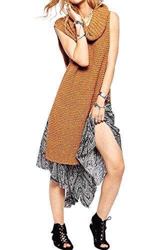 Azbro Women's Solid Turtle Neck Side Split Sleeveless Pullover Sweater