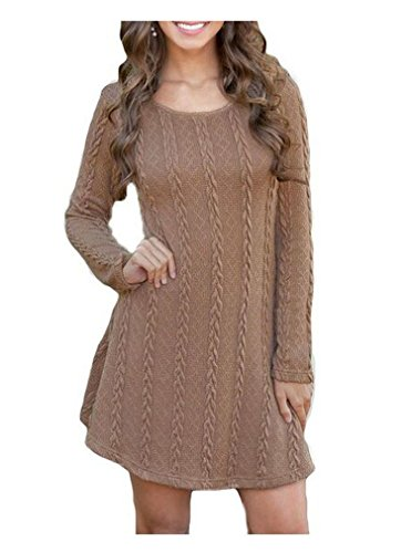 OURS Women's Plain A Line Cable Knit Sweater Dress (XL, brown *)