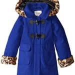 Jessica Simpson Little Girls' Faux Wool Coat with Print Trim, Blue, 4
