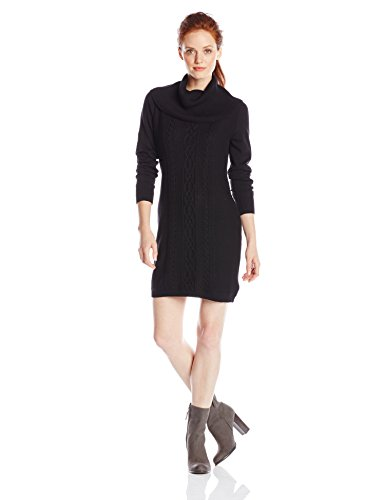 Dockers Women's Petite Cable Front Panel Cotton Sweater Cowl Neck Dress Petite