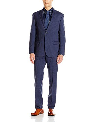 DKNY Men's Duke Skinny Fit 2 Button Side Vent Notch Lapel Trouser In Weave Suit