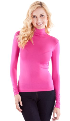 Fuchsia Pink Ladies Long Sleeve Turtleneck Shirt