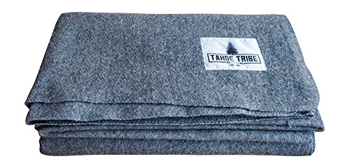 Fire Retardant Wool Camping Blanket By Tahoe Tribe Outfitters – Survival Gear & Emergency Supplies for Outdoor Enthusiasts (Gray)