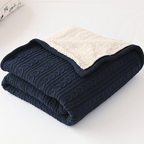 CottonTex Cotton Knitted Blanket Lined with Sherpa Lining Super Soft Warm Cover for Bed Sofa Counch, 47*70 Inches, Navy