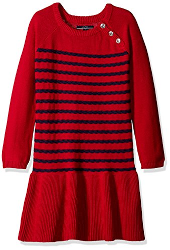 Nautica Girls' Raglan Sweater Dress with Rope Stripe Full Rib Skirt