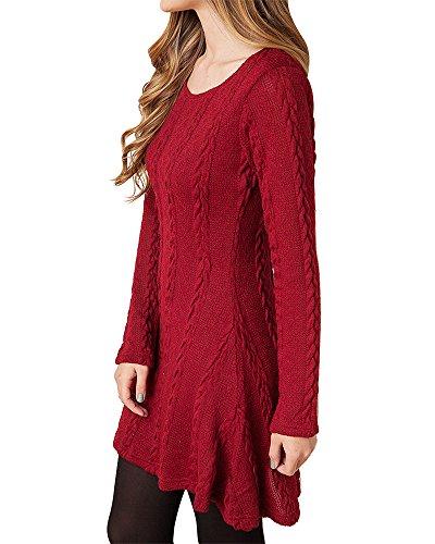 HAPEE Women's Crewneck Knitted Long Sleeve Sweater Dress