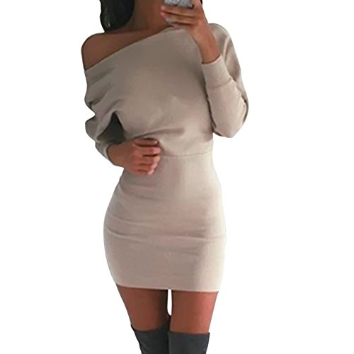 Timall Womens Sweater Dress Long Sleeve Bodycon Slim Cocktail Party Dresses