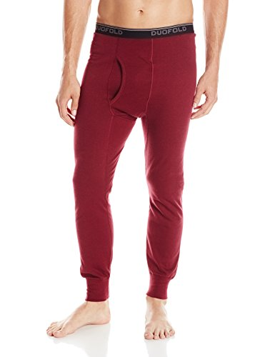 Duofold Men's Mid Weight Wicking Thermal Pant, Bordeaux Red, Large