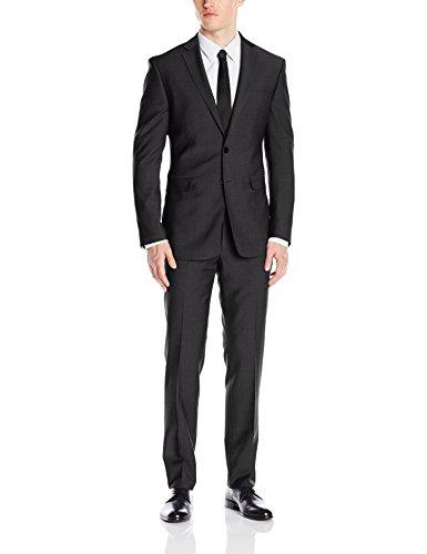 Calvin Klein Men's Mabry Slim Fit 2 Button Notch Lapel Trouser In Black Solid Suit