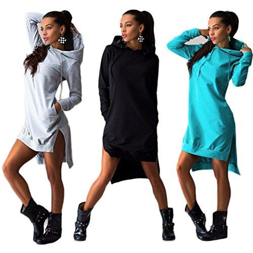 Women Sweatshirt Dress, Misaky Double Split Hoodie Pullover Pockets Sweater
